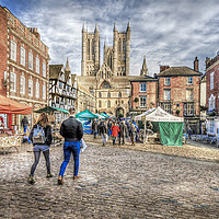 Buy canvas prints of Lincoln Market and Cathedral by Martin Parkinson