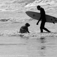 Buy canvas prints of One Surfer And His Dog by Brian Roscorla