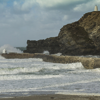 Buy canvas prints of Portreath Harbour Breakwater by Brian Roscorla