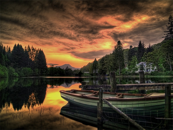 Spring Sunset Loch Ard Canvas print by Finan Fine Art Prints