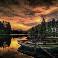 Buy canvas prints of Spring Sunset Loch Ard by Finan Fine Art Prints