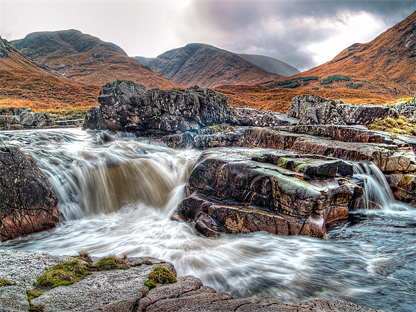 Waterfall On The River Etive Canvas print by Finan Fine Art Prints