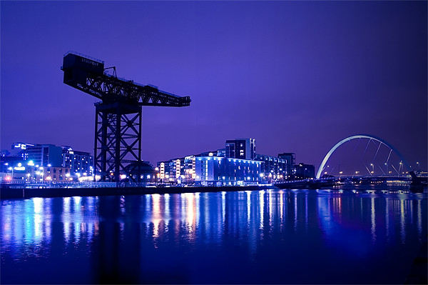The River Clyde At Night. Canvas print by Finan Fine Art Prints