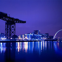 Buy canvas prints of The River Clyde At Night. by Finan Fine Art Prints