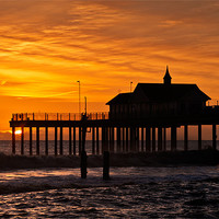 Buy canvas prints of Sunrise over Southwold Pier by Stephen Mole