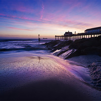 Buy canvas prints of Blue dawn over Southwold Pier by Stephen Mole