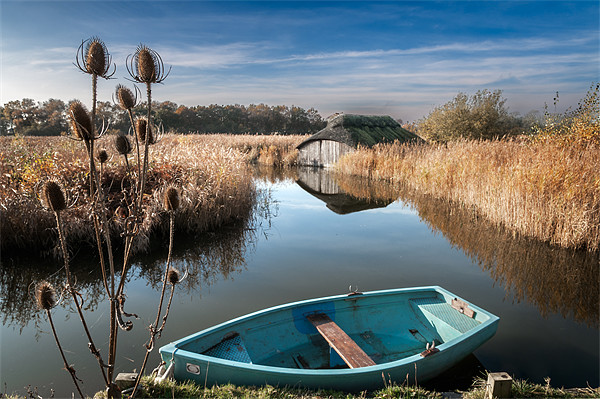 Blue Boat at Hickling Canvas print by Stephen Mole