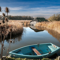 Buy canvas prints of Blue Boat at Hickling by Stephen Mole