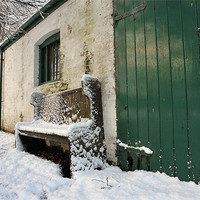 Buy canvas prints of Green door and bench by Stephen Mole