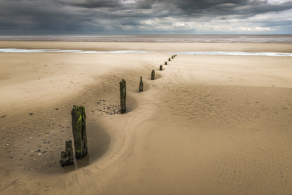 Brancaster Beach with stumps Framed Mounted Print by Stephen Mole
