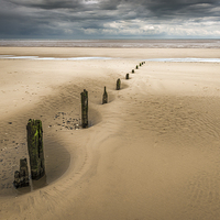 Buy canvas prints of  Brancaster Beach with stumps by Stephen Mole