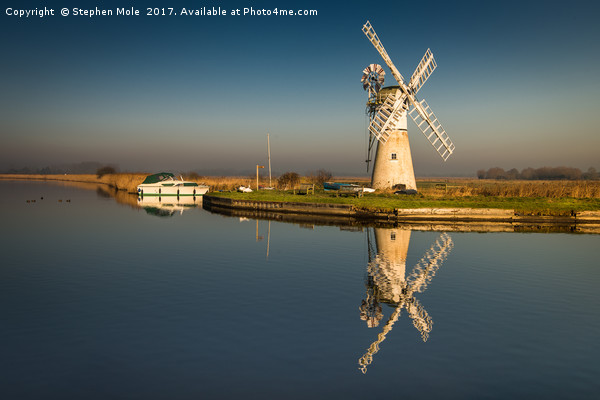 Light on Thurne Mill  Canvas print by Stephen Mole