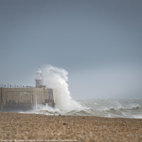 Storm Dennis hits Folkestone Canvas print by James Rowland