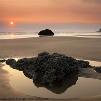 Buy canvas prints of Hazy Oregon Sunset by Mike Dawson