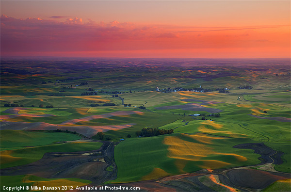 Red Skies over the Palouse Print by Mike Dawson