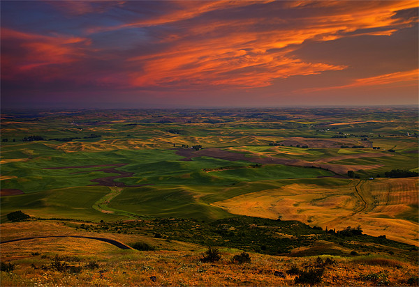 Red Sky over the Palouse Print by Mike Dawson