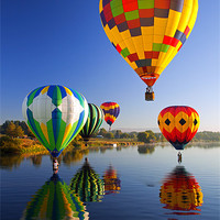 Buy canvas prints of Balloons Reflections by Mike Dawson