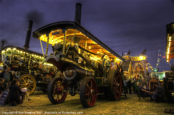 Showmans Engine by night Framed Mounted Print by Rob Hawkins
