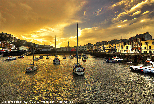 Ilfracombe Harbour at dusk Canvas print by Rob Hawkins