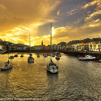 Buy canvas prints of Ilfracombe Harbour at dusk by Rob Hawkins