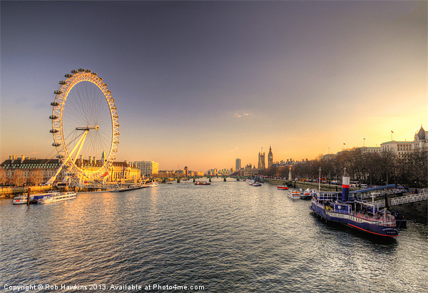 Dusk on the Thames Canvas print by Rob Hawkins