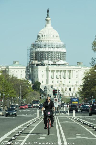 Capitol Cycling  Framed Print by Rob Hawkins