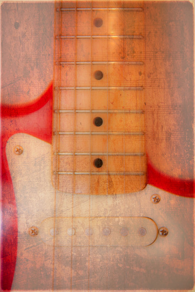 Textured Guitar two Canvas print by Mike Sherman Photography