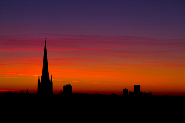 Last Light Behind Norwich Cathedral 2 Canvas print by Paul Macro