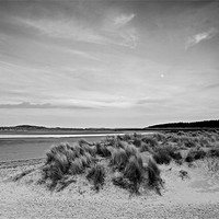Buy canvas prints of Moon Rise over Holkham Beach Mono by Paul Macro