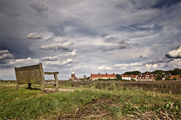 Seat with a View of Cley Framed Mounted Print by Paul Macro
