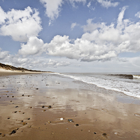 Buy canvas prints of Hemsby Beach Reflections by Paul Macro