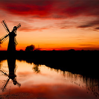Buy canvas prints of Spring Sunset at Thurne Mill by Paul Macro