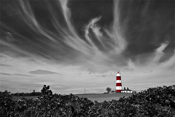 Wispy Clouds Above Happisburgh Lighthouse Selectiv Framed Mounted Print by Paul Macro