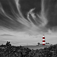 Buy canvas prints of Wispy Clouds Above Happisburgh Lighthouse Selectiv by Paul Macro