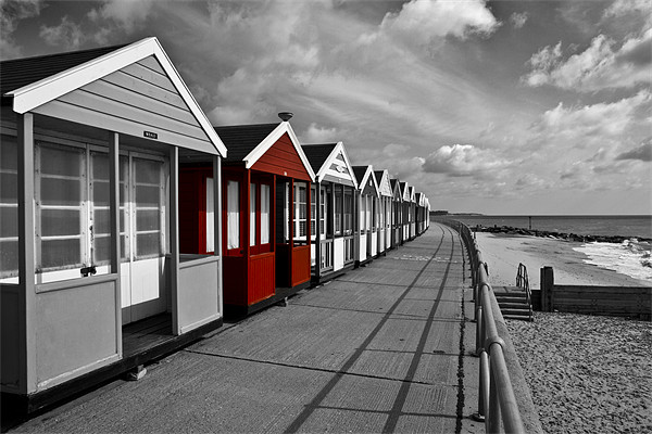 More Southwold Beach Huts selective Framed Mounted Print by Paul Macro