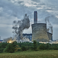 Buy canvas prints of  Didcot Power Station - South Towers Demolition by Chris Turner
