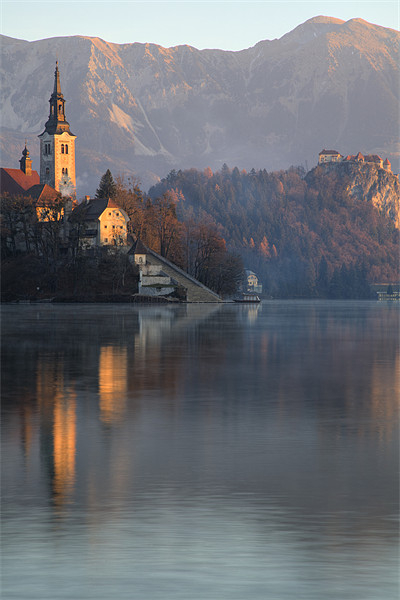Dawn breaks over Lake Bled Canvas Print by Ian Middleton