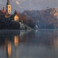 Buy canvas prints of Dawn breaks over Lake Bled by Ian Middleton