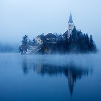 Buy canvas prints of Misty Lake Bled by Ian Middleton