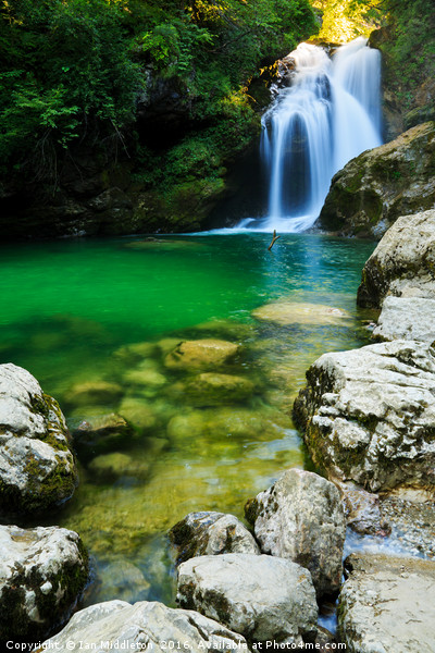 Sum Waterfall in Vintgar Gorge, near Bled, Sloveni Canvas print by Ian Middleton