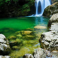 Buy canvas prints of Sum Waterfall in Vintgar Gorge, near Bled, Sloveni by Ian Middleton