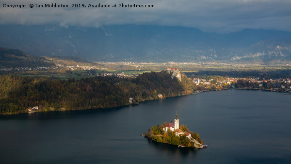 View of Lake Bled from Mala Osojnica Canvas print by Ian Middleton