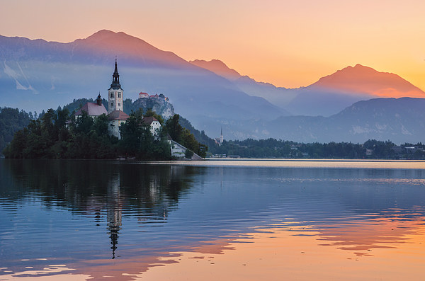 Two colors of Lake Bled Canvas print by Sergey Golotvin