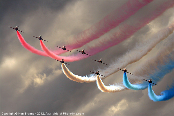 Red Arrows smoke trails Canvas print by Aviation Prints
