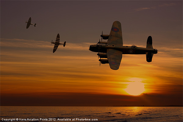 Lancaster Bomber sunset with spitfires Canvas print by Aviation Prints