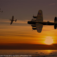 Buy canvas prints of Lancaster Bomber sunset with spitfires by Aviation Prints