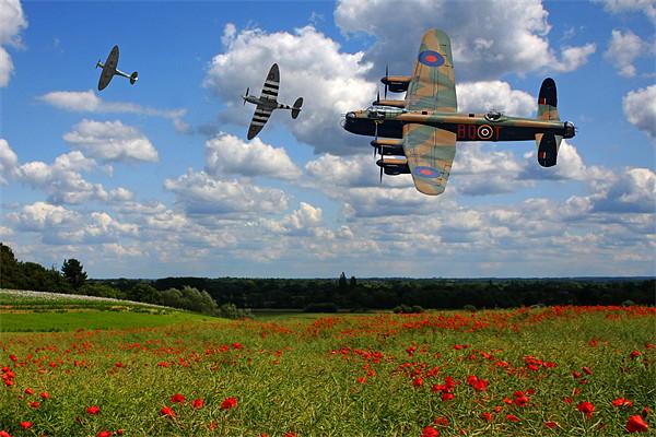 Lancaster Spitfire and poppy Field Canvas print by Aviation Prints