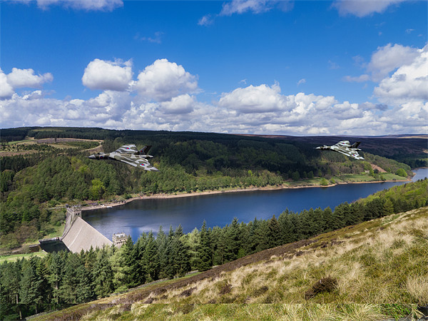Vulcan Bombers over Derwent Dam Canvas print by Aviation Prints