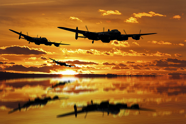 Dambusters Avro Lancaster Bombers Canvas Print by Aviation Prints