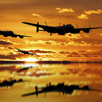 Buy canvas prints of Dambusters Avro Lancaster Bombers by Aviation Prints